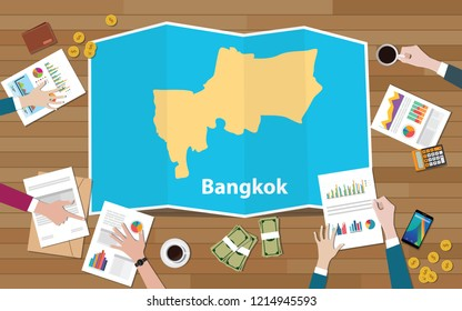 bangkok thailand capital city region economy growth with team discuss on fold maps view from top vector illustration