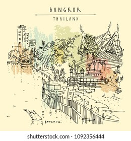 Bangkok, Thailand. Chao Phraya river, Buddhist temple and residential buildings. Khaosan touristic area, riverside. Travel sketch. Hand drawn vintage travel postcard, poster, book illustration. Vector