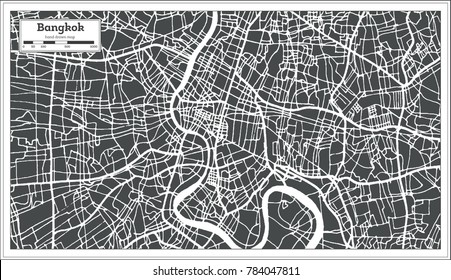 Bangkok Thailand City Map in Retro Style. Outline Map. Vector Illustration.