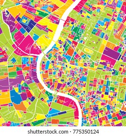 Bangkok, Thailand, colorful vector map.  White streets, railways and water. Bright colored landmark shapes. Art print pattern.