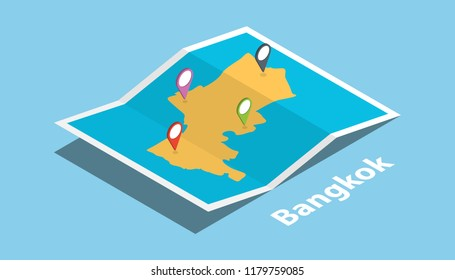 bangkok thailand explore maps with isometric style and pin location tag on top vector illustration