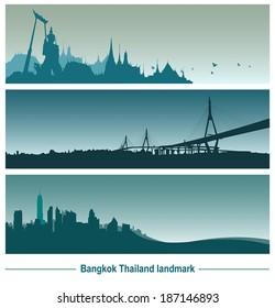 Bangkok Thailand landmark, vector Illustration.