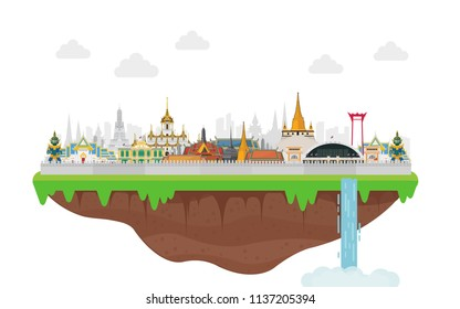 Bangkok in Thailand Landmarks and travel island vector