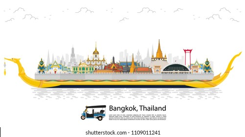 Bangkok in Thailand and Landmarks and travel place,temple,background
