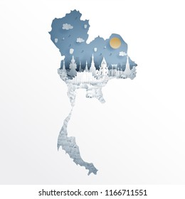 Bangkok, Thailand with map concept and Thai famous landmarks in paper cut style vector illustration. Travel poster, postcard and advertising design.