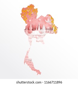 Bangkok, Thailand with map concept and Thai famous landmarks with flowers in paper cut style vector illustration. Travel poster, postcard and advertising design.