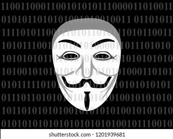 Bangkok, Thailand Oct 13, 2018: Vector Illustration Concept Art of Malicious Code / Programming / Program or Spyware with Hacker Face on The Black and White Digital Screen Showing 0 1 Digits.