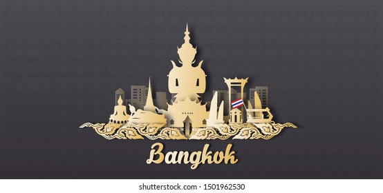 Bangkok Thailand in paper cut style on Thai pattern background. Landmarks of Thailand Vectors Illustration