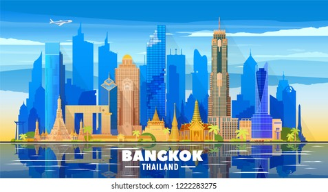 Bangkok ( Thailand ) skyline with panorama in sky background. Vector Illustration. Business travel and tourism concept with modern buildings.