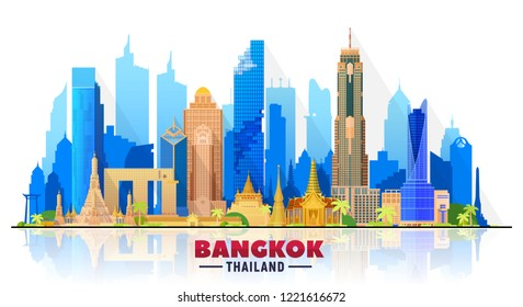 Bangkok ( Thailand ) skyline with panorama in white background. Vector Illustration. Business travel and tourism concept with modern buildings.