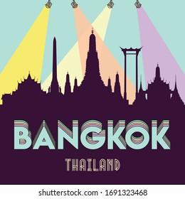 Bangkok Thailand skyline silhouette flat design vector illustration