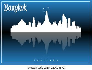 Bangkok, Thailand, skyline silhouette vector design on parliament blue and black background.