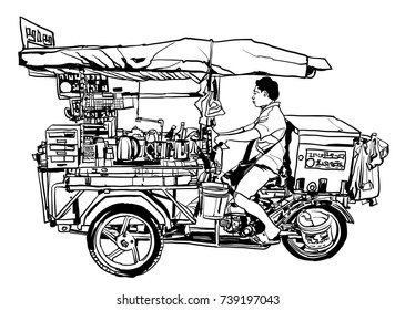 Bangkok, Thailand. street food tricycle - vector illustration