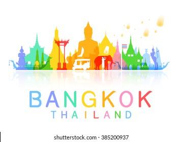 bangkok Thailand Travel. Vector and Illustration