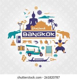 Bangkok - Thailand vector set