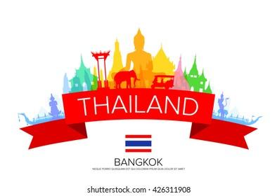 Bangkok Travel, Thailand Travel. Vector and Illustration