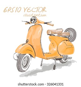 Bangkok,THAILAND - 2015 September 16 : Yellow classic motorcycle on vector art