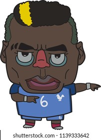Bangkok/Thailand ,22,July,2018:Paul Labile Pogba is a French professional footballer who plays for Premier League club Manchester United and the French national team, cartoon design.