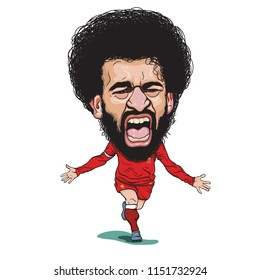 Bangkok/Thailand-August,7,2018: Mohamed Salah Ghaly is an Egyptian professional footballer who plays as a forward for English club Liverpool and the Egyptian national team,Illustration caricature .