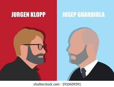 BANGKOK,THAILAND-FEBRUARY 6 , Illustration of Jurgen Klopp Against Josep Guardiola For EPL Champ on February 6,2021