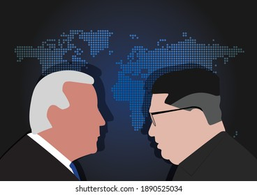 BANGKOK,THAILAND-JANUARY 10 , Illustration of Joe Biden Against Putin, The President of US and Russia over World Map on JANUARY 10,2021