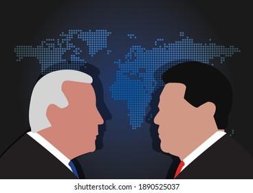 BANGKOK,THAILAND-JANUARY 10 , Illustration of Joe Biden Against Xi Jinping, The President of US and China over World Map on JANUARY 10,2021