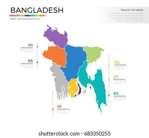 Bangladesh country map infographic colored vector template with regions and pointer marks
