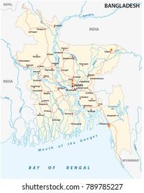 A bangladesh country road vector map