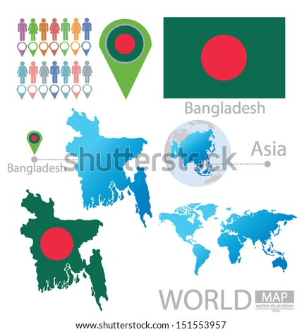 Asia Map Bangladesh.Bangladesh Flag Asia World Map Vector Stock Vector Royalty Free