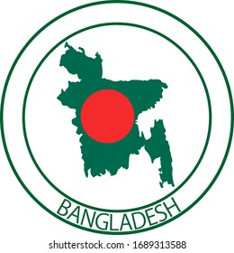 Bangladesh flag on map of country; isolated on white background. Vector logo sticker button