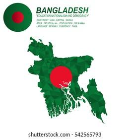 Bangladesh flag overlay on Bangladesh map with polygonal style.(EPS10 art vector)