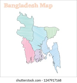 Bangladesh hand-drawn map. Colourful sketchy country outline. Bewitching Bangladesh map with provinces. Vector illustration.