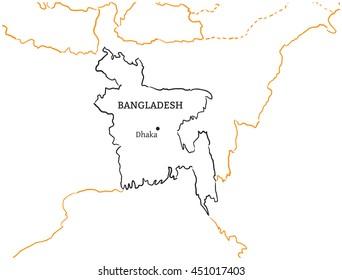 Bangladesh hand-drawn sketch map