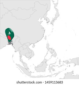Bangladesh Location Map on map Asia. 3d Bangladesh flag map marker location pin. High quality map of People's Republic of Bangladesh. Southeast Asia. Vector illustration EPS10.