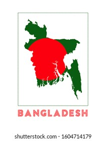 Bangladesh Logo. Map of Bangladesh with country name and flag. Neat vector illustration.