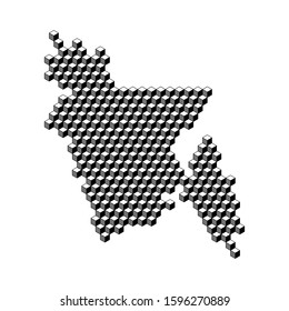 Bangladesh map from 3D black cubes isometric abstract concept, square pattern, angular geometric shape. Vector illustration.