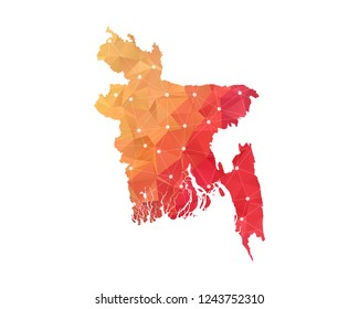Bangladesh Map - Abstract geometric rumpled triangular low poly style gradient graphic on white background , line dots polygonal design for your . Vector illustration eps 10.