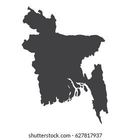 Bangladesh map in black on a white background. Vector illustration