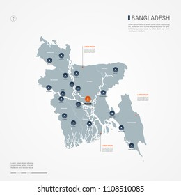 Bangladesh map with borders, cities, capital Dhaka and administrative divisions. Infographic vector map. Editable layers clearly labeled.