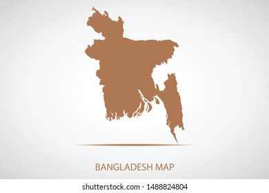 Bangladesh map, brown color and country name. Map of Asia. Vector map on gray background. Symbol for your web site design map logo. app, ui, Travel vector eps10, concept Illustration.