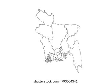 bangladesh map with country borders, thin black outline on white background. High detailed vector map with counties/regions/states - bangladesh. contour, shape, outline, on white.