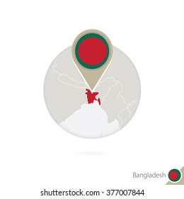 Bangladesh map and flag in circle. Map of Bangladesh, Bangladesh flag pin. Map of Bangladesh in the style of the globe. Vector Illustration.