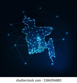 Bangladesh map glowing silhouette outline made of stars lines dots triangles, low polygonal shapes. Communication, internet technologies concept. Wireframe futuristic design. Vector illustration.
