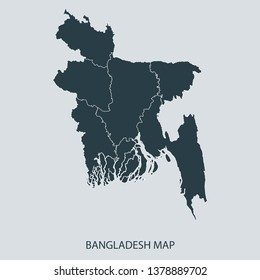 Bangladesh map on gray background vector, Bangladesh Map Outline Shape Gray on White Vector Illustration, Map with name. High detailed Gray illustration map Bangladesh.