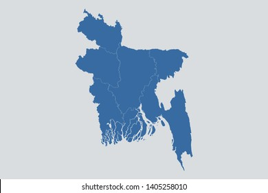 Bangladesh map on gray background vector, Bangladesh Map Outline Shape Blue on White Vector Illustration, Map of Asia. Symbol for your web site design map logo. app, ui, eps10.
