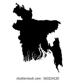 Bangladesh map on white background vector