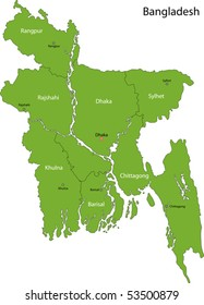 Bangladesh map with provinces and capital cities