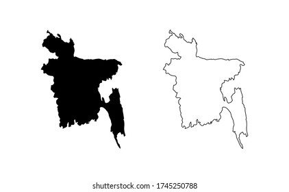 Bangladesh map silhouette line country Asia map illustration vector outline Asian isolated on white background