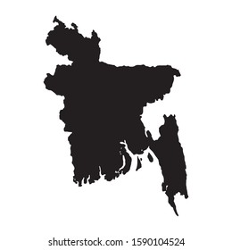 Bangladesh map vector, isolated on white background. Black map template, flat earth.  Simplified, generalized world map with round corners.