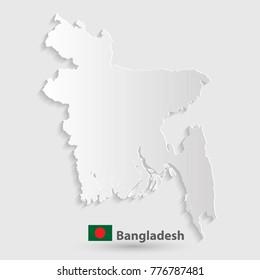 bangladesh map white paper 3D. illustration vector.